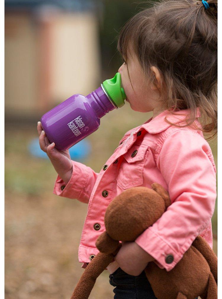 Fialová dětská nerezová lahev Klean Kanteen Kid Classic Sport 355 ml