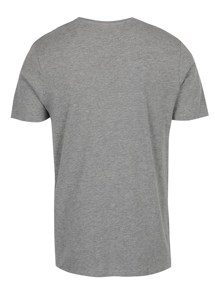Šedé žíhané triko s potiskem Jack & Jones Concept