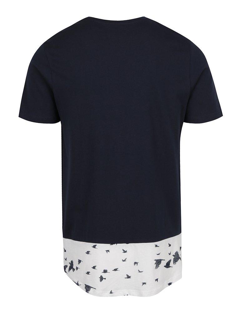 Tricou bleumarin cu  print pasari Jack & Jones Marvin