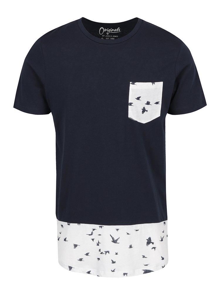 Tmavě modré triko s potiskem a kapsou Jack & Jones Marvin