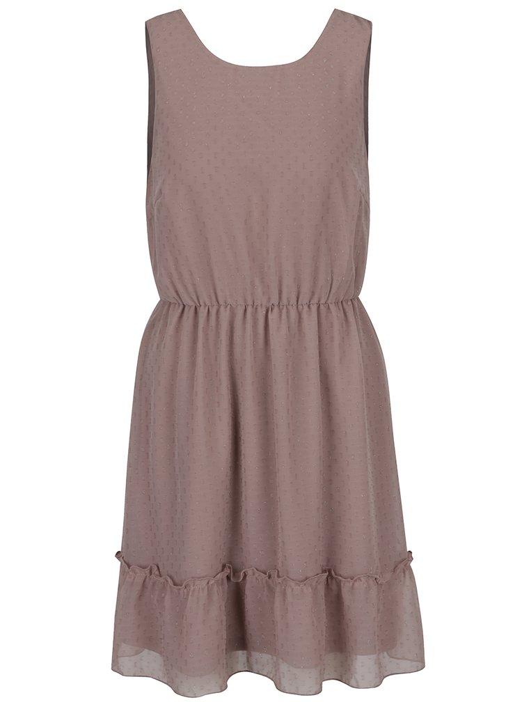 Starorůžové šaty s lesklými detaily a volánem VERO MODA Lea