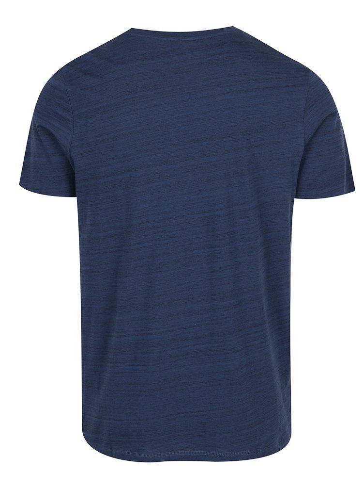 Tricou albastru melanj cu print Jack & Jones Weird