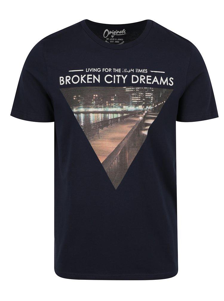 Tricou bleumarin cu print urban Jack & Jones Hello