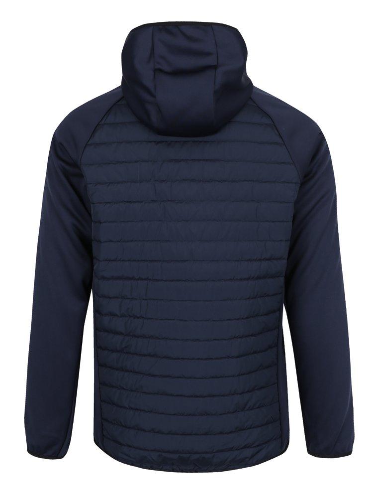 Tmavě modrá prošívaná bunda s kapucí Jack & Jones Multi Quilted