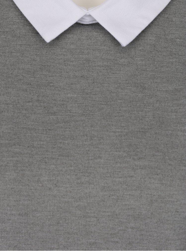 Rochie gri & alb VERO MODA Cindy cu guler de cămașă