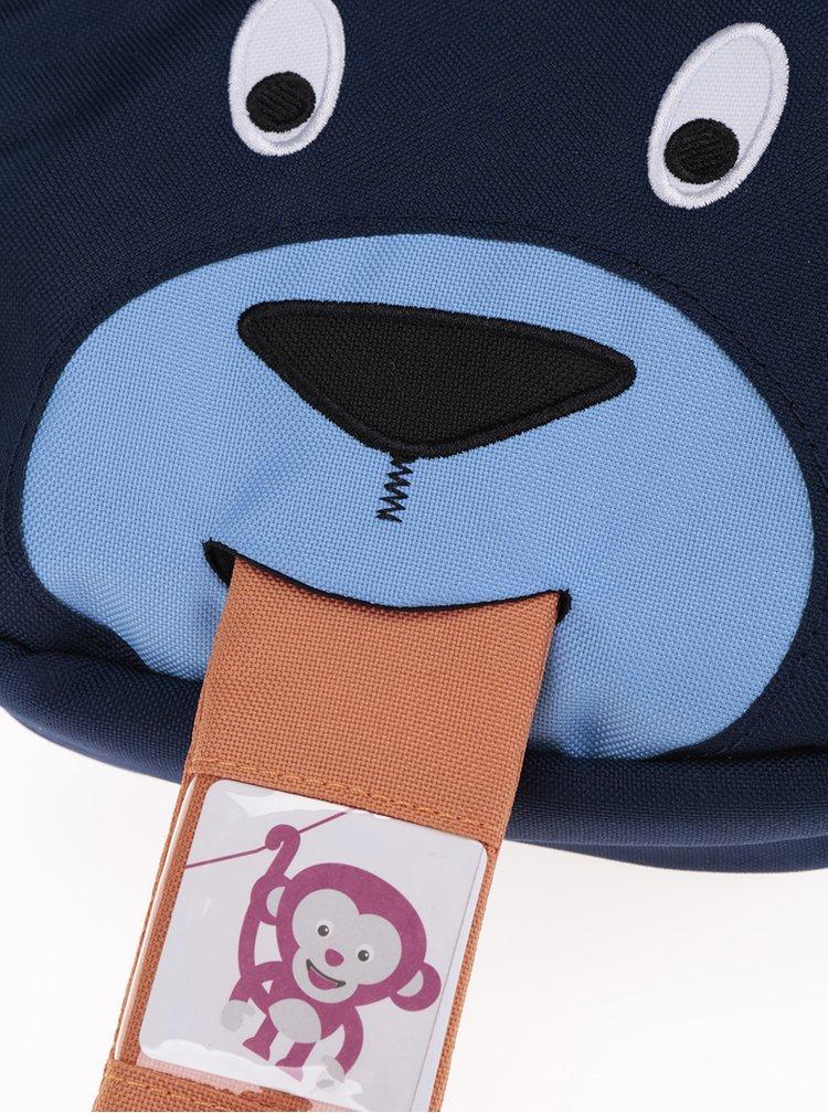 Tmavě modrá dětská crossbody taška ve tvaru medvěda Affenzahn 2 l