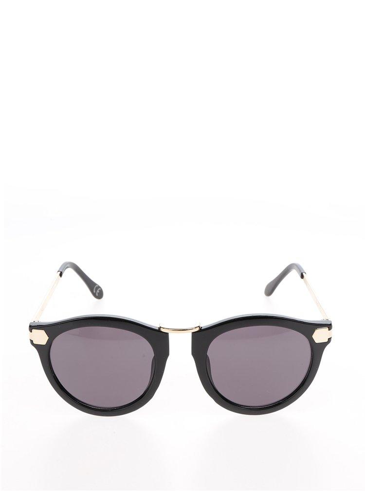 Černé dámské sluneční brýle s detaily ve stříbrné barvě Nalí