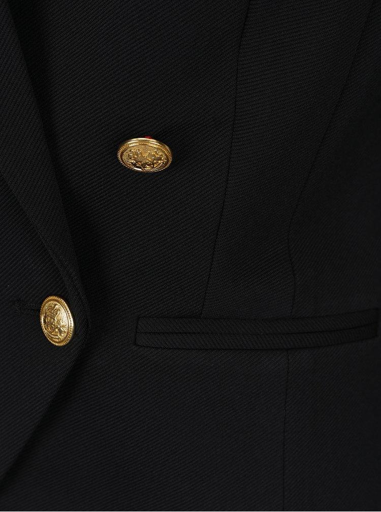 Černé sako s knoflíky ve zlaté barvě VERO MODA Selma