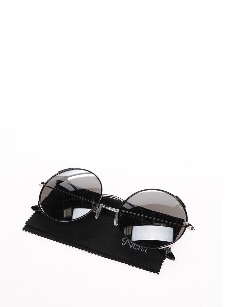 Dámské kulaté sluneční brýle s obroučkami v černo-stříbrné barvě Nalí