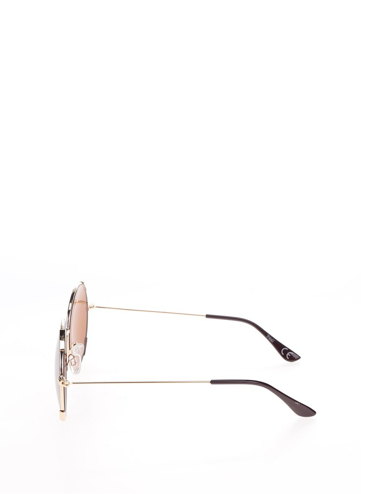 Dámské kulaté sluneční brýle s obroučkami v červeno-zlaté barvě Nalí