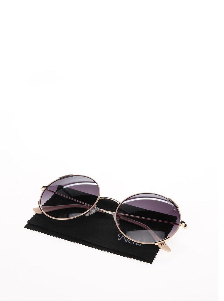 Dámské kulaté sluneční brýle s obroučkami v růžovo-zlaté barvě Nalí
