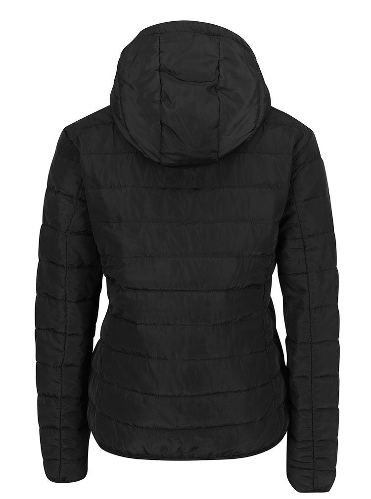 Čierna prešívaná bunda s kapucňou Jacqueline de Yong Ash