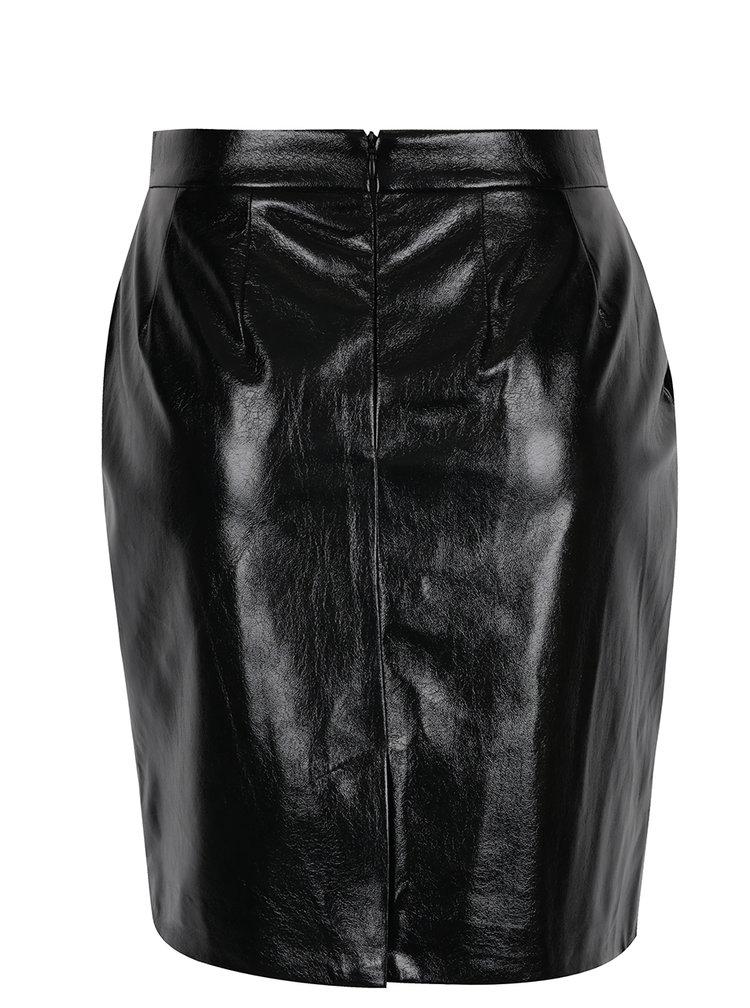 Černá lesklá koženková sukně s kapsami VERO MODA Rebelle