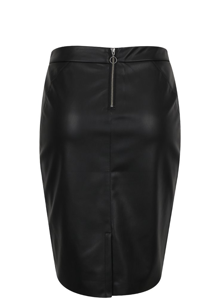 Černá koženková sukně VERO MODA Ninea