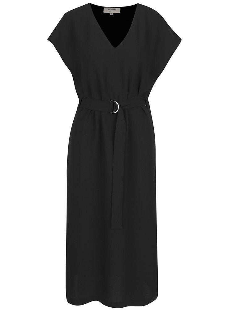 Čierne midišaty s opaskom Selected Femme Newa