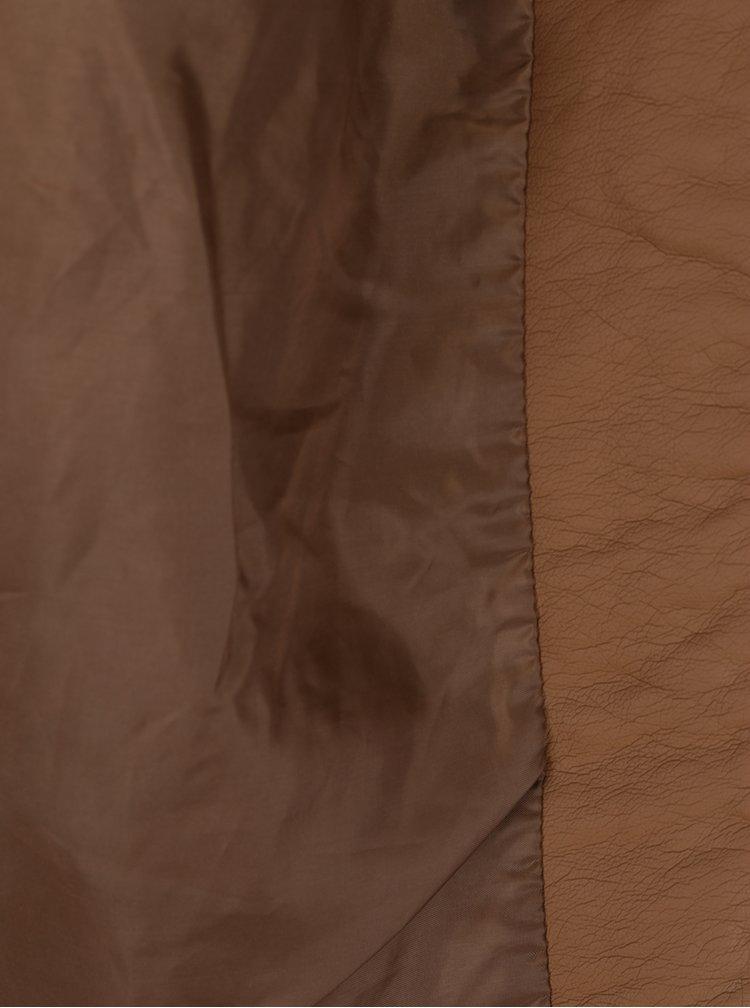 Hnědá koženková bunda ONLY Ready
