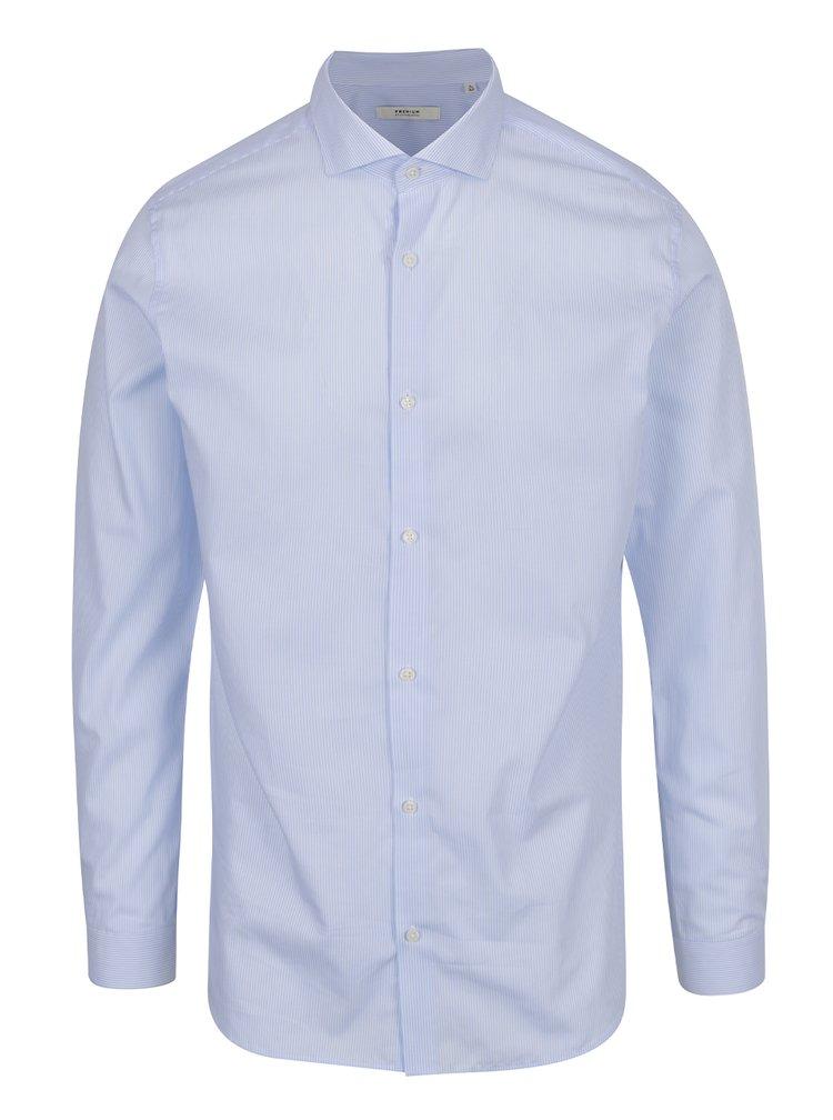 Světle modrá formální pruhovaná slim fit  košile Jack & Jones Premium Costa Rica