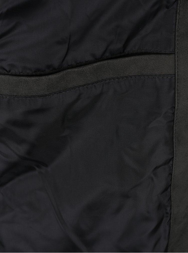 Jacheta biker neagra din piele sintetica Jack & Jones West Biker