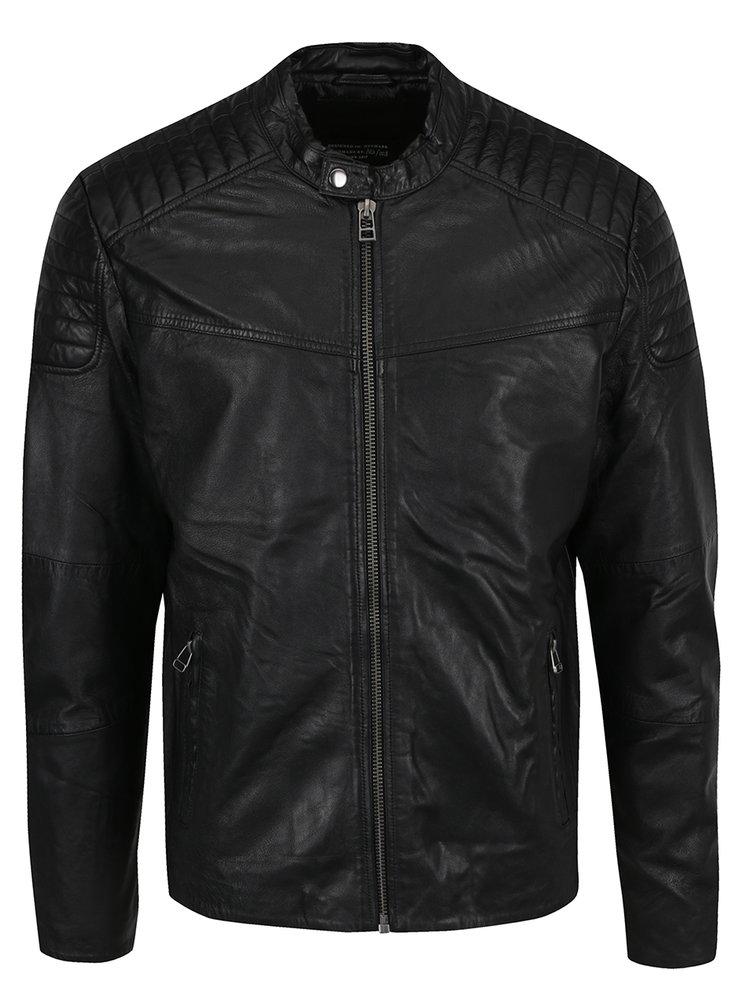 Černá kožená bunda Jack & Jones Leather 14