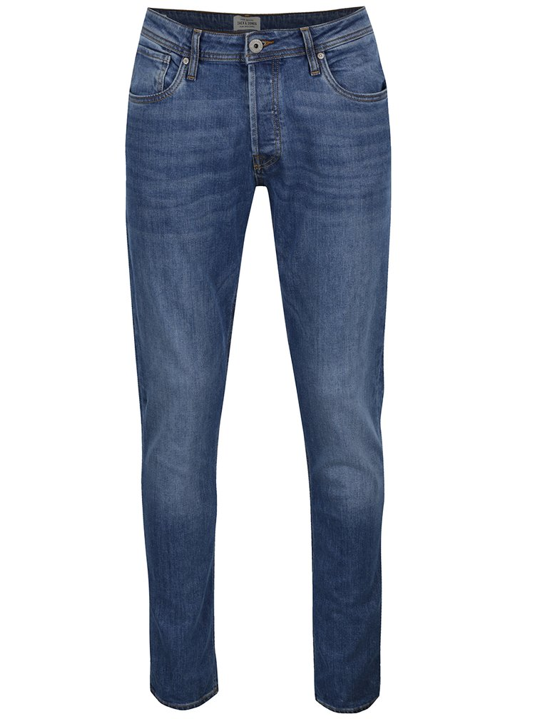 Blugi slim fit albastri Jack & Jones Tim