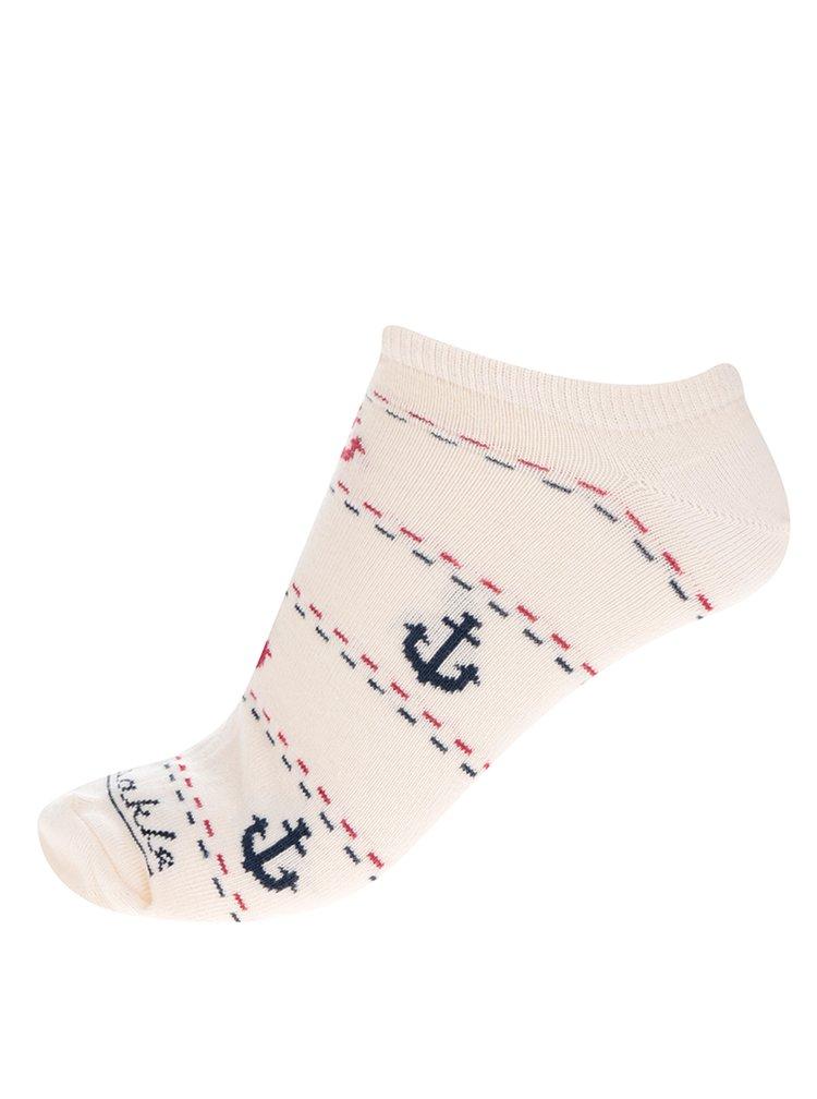 Krémové unisex kotníkové ponožky s motivem kotvy Fusakle Morský vlk