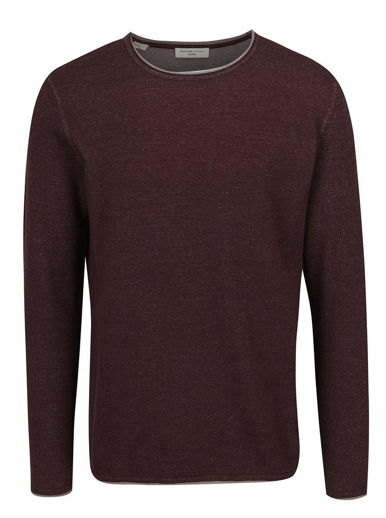 Vínový lehký žíhaný svetr Selected Homme Klop
