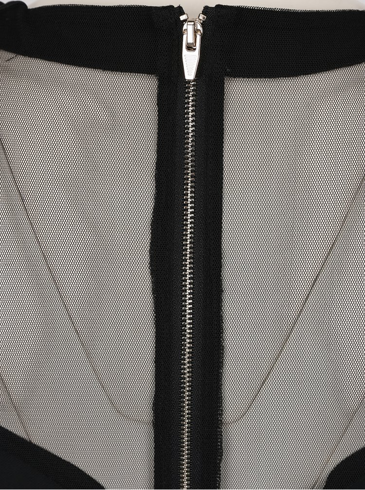 Rochie neagra mulata VILA Starli cu detalii transparente