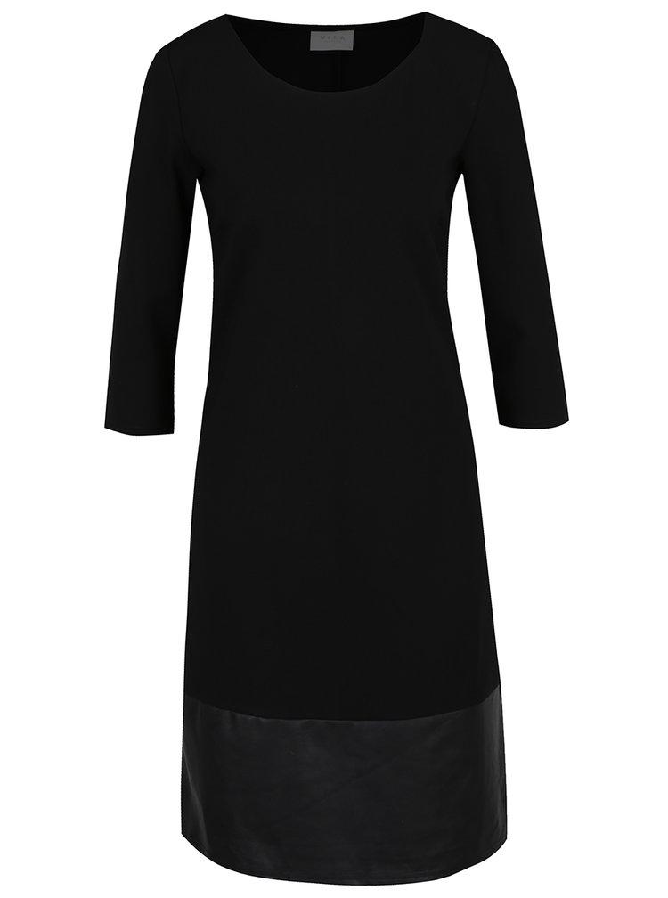 Rochie neagra VILA Ally cu detalii din piele sintetica