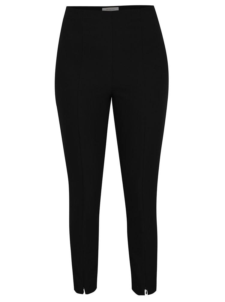 Čierne skrátené nohavice s pružným pásom Selected Femme Muno