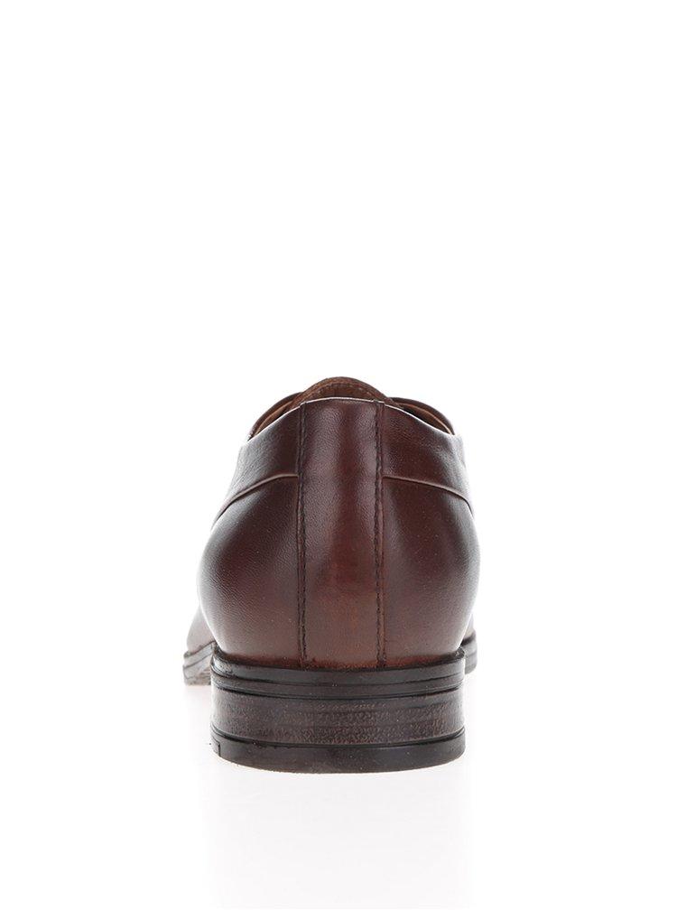 Hnedé pánske kožené poltopánky Jack & Jones Sammy