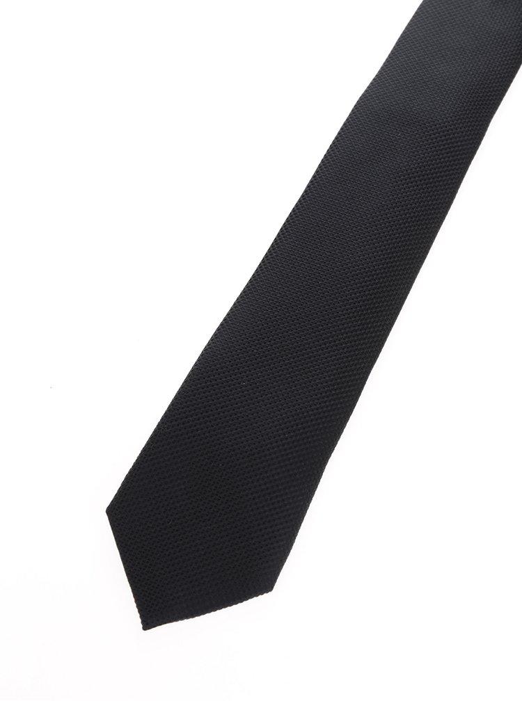 Čierna hodvábna kravata s jemným vzorom Jack & Jones Premium Colombia