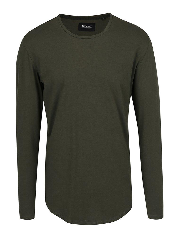 Tmavě zelené basic triko s dlouhým rukávem ONLY & SONS Matt