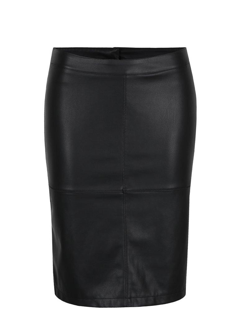 Černá koženková pouzdrová sukně s rozparkem VILA Pen New