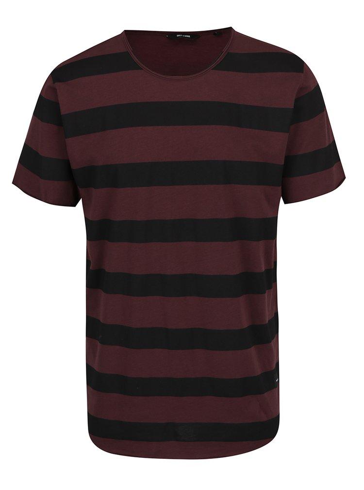 Tricou in dungi rosu burgundy cu negru ONLY & SONS Hako
