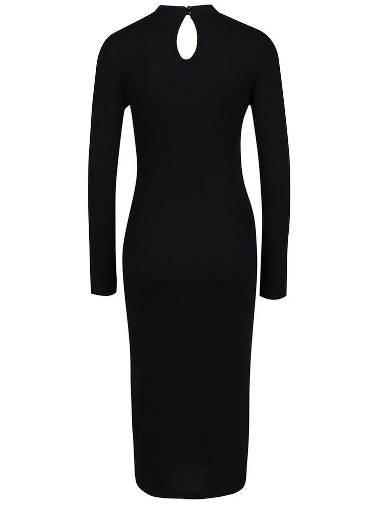 Černé šaty s chokerem a dlouhým rukávem ONLY Break