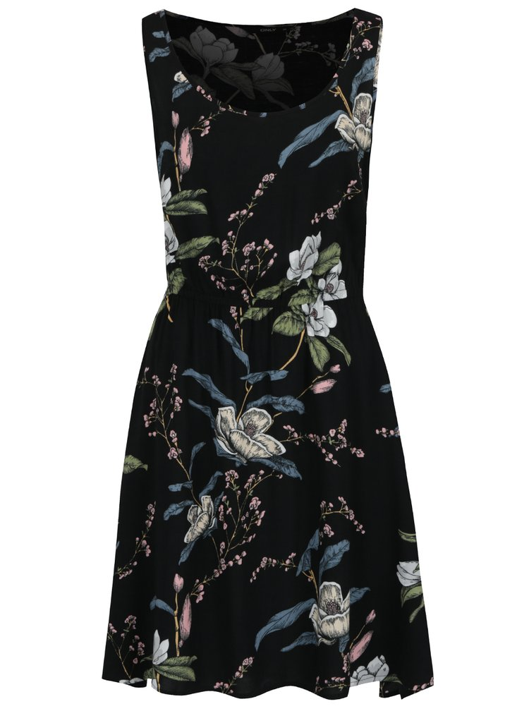 Rochie neagră midi cu print floral ONLY Nova