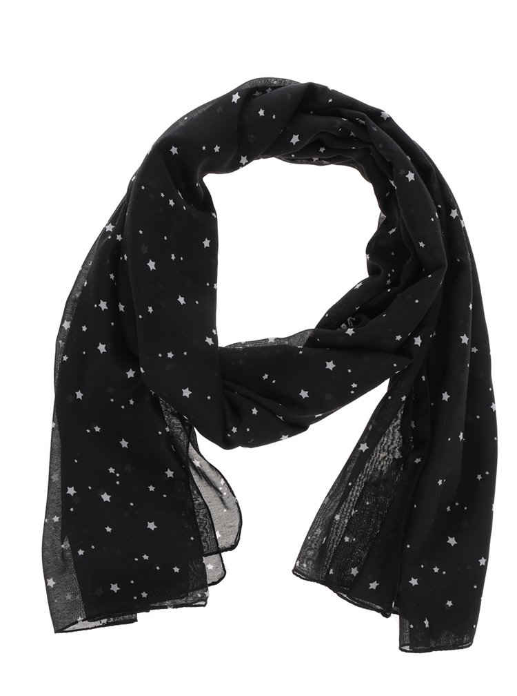 Esarfa neagra cu print stele ONLY Beth