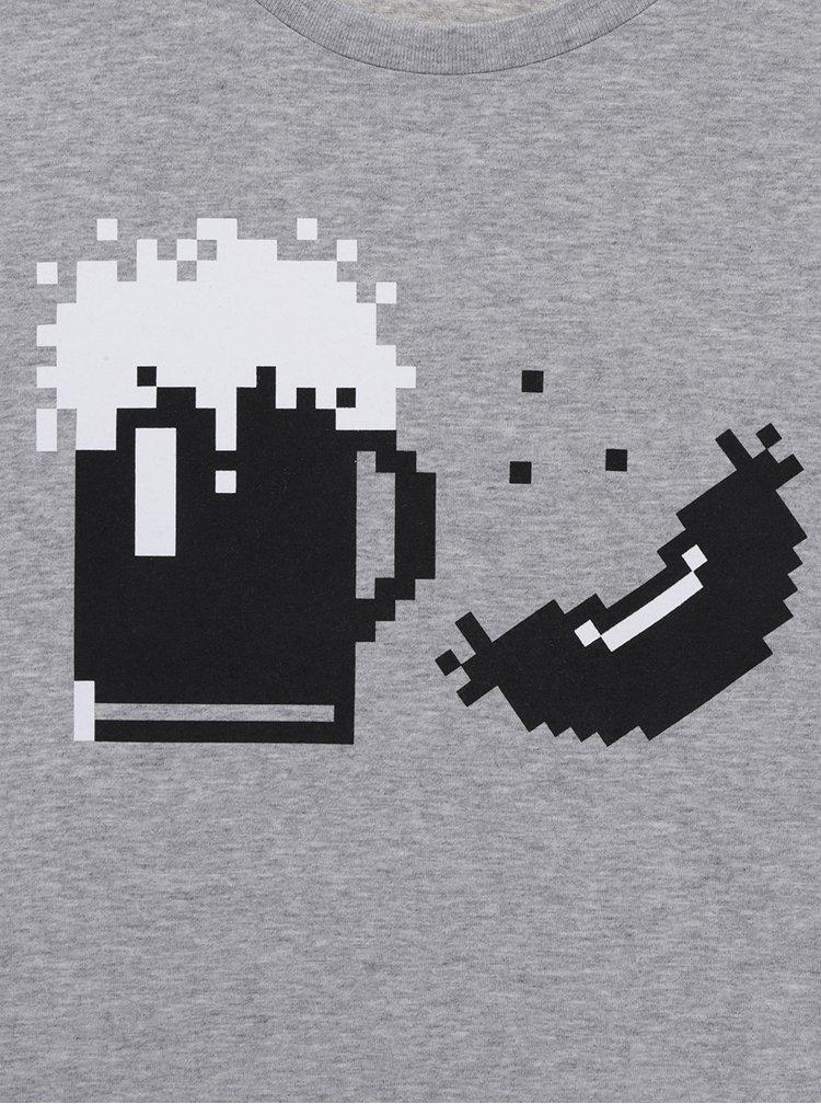 Tricou gri melanj ZOOT Original cu print