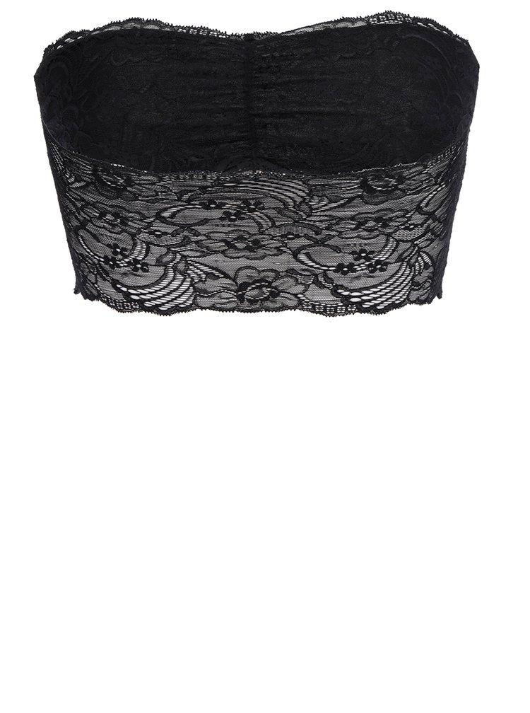 Černá krajková podprsenka bez ramínek Pieces Arianne