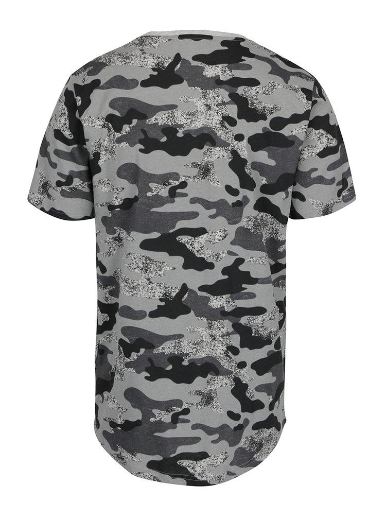 Šedé tričko s maskáčovým vzorem ONLY & SONS Hans