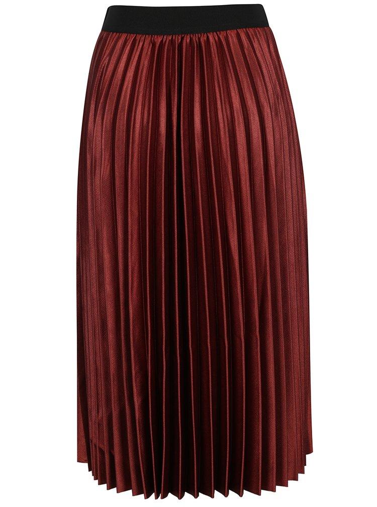 Vínová plisovaná midi sukně ONLY Anna