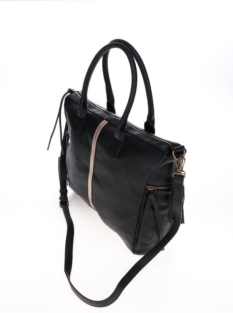 Černá kabelka s pruhem ve zlaté barvě Pieces Jaci
