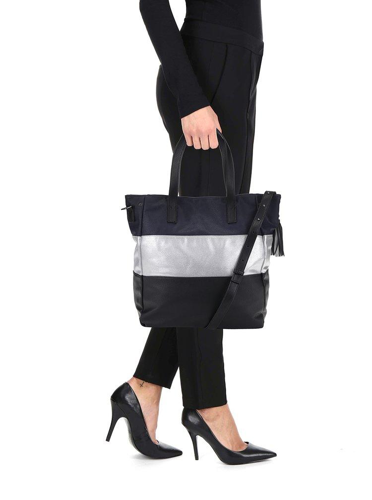 Modro-černá kabelka s pruhem ve stříbrné barvě Pieces Jina