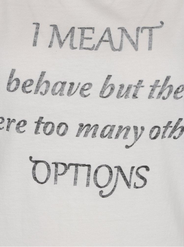 Krémové tričko s krátkým rukávem a potiskem ONLY Basil