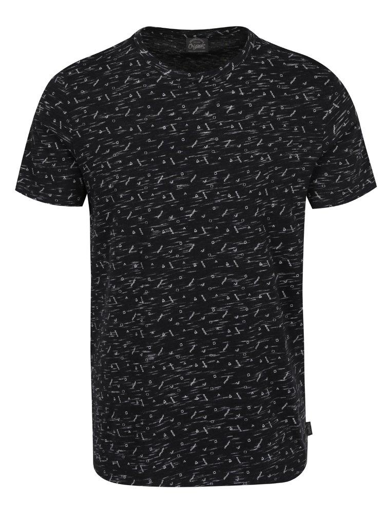 Čierne vzorované tričko s krátkym rukávom Jack & Jones Lineup