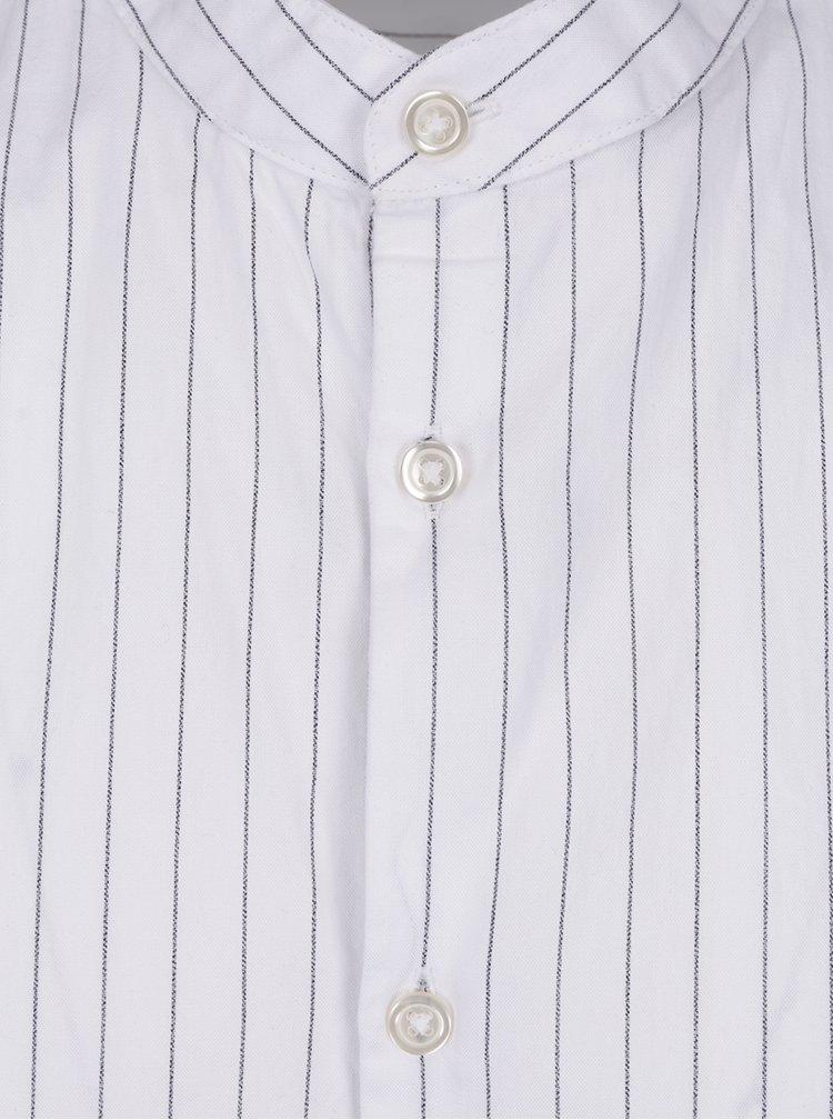Bílá pruhovaná košile bez límečku Selected Homme Twopin