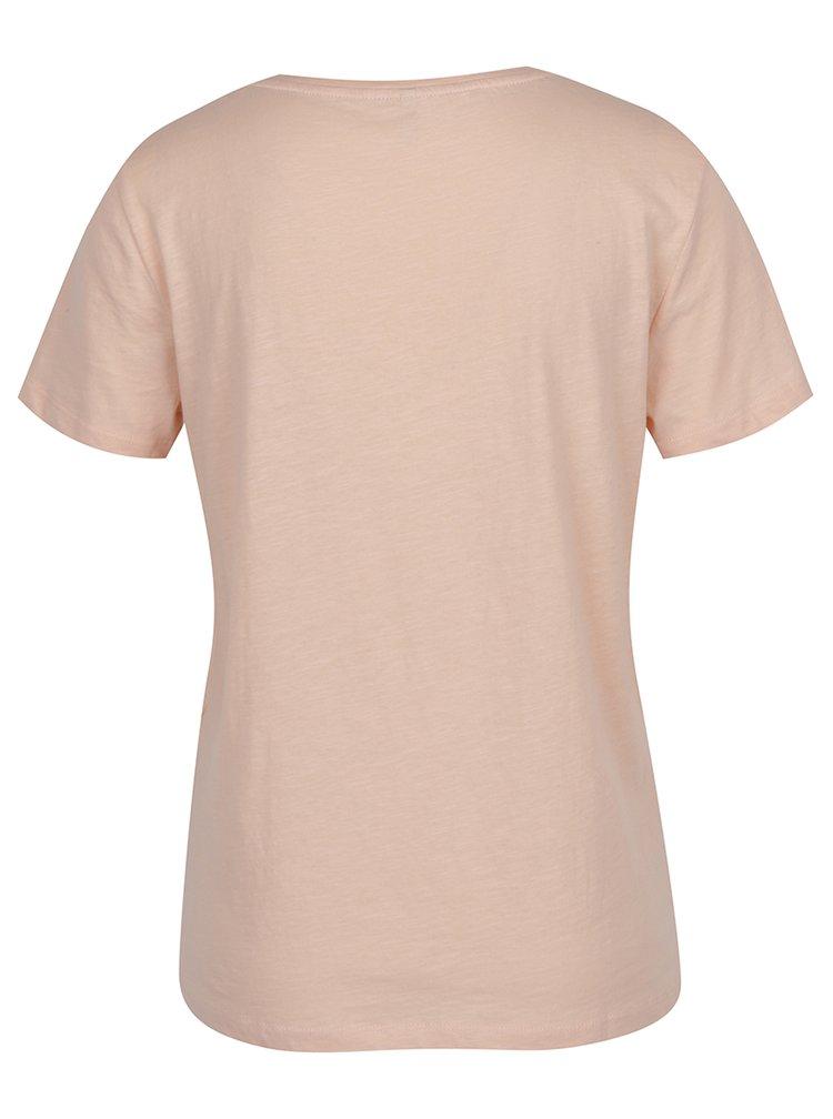Tricou roz cu print slang ONLY Madison
