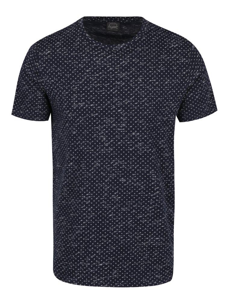 Tmavě modré vzorované triko s krátkým rukávem Jack & Jones Lineup