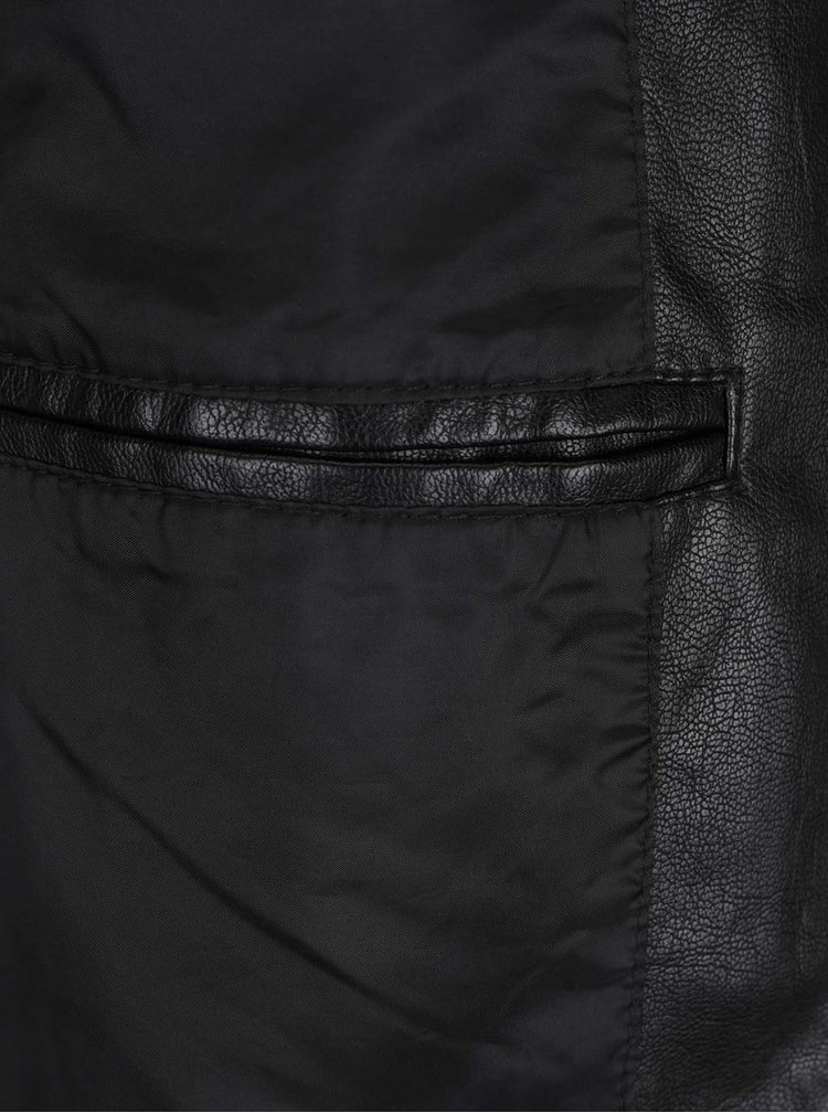 Černá koženková bunda ONLY & SONS Samson