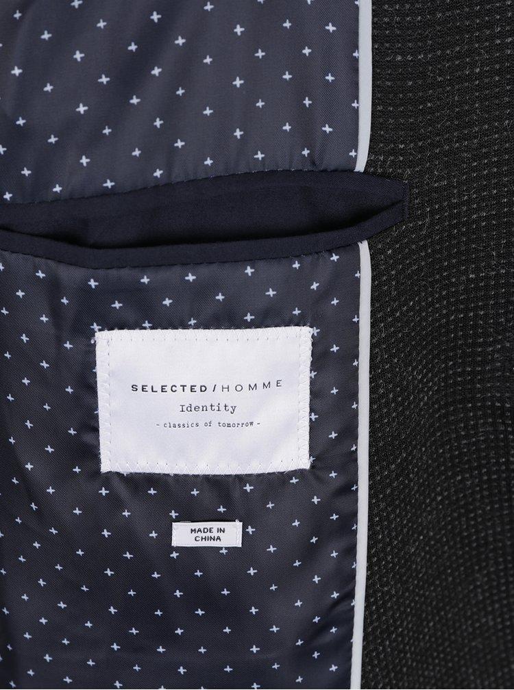 Tmavě šedé sako s jemným vzorem Selected Homme Done-Brett